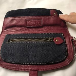 Lucky Brand Bags - NWOT Lucky brand red leather/denim wristlet